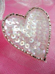 "FS510 Crystal Iris Valentine Heart Sequin Beaded Applique 1.5"""