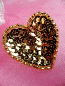 FS510 Gold Valentine Heart Sequin Beaded Applique 1.5""