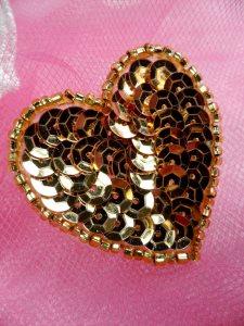 "FS510 Gold Valentine Heart Sequin Beaded Applique 1.5"""