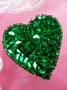 FS510 Green Valentine Heart Sequin Beaded Applique 1.5""