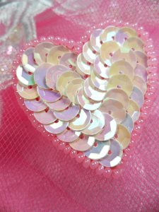 FS510 Pink AB Valentine Heart Sequin Beaded Applique 1.5""