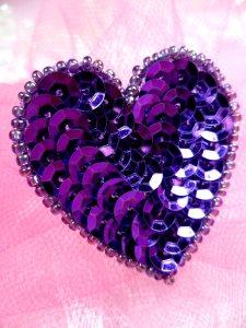 "FS510 Purple Valentine Heart Sequin Beaded Applique 1.5"""