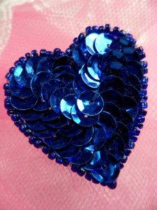 "FS510 Blue Valentine Heart Sequin Beaded Applique 1.5"""