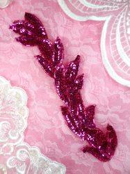 "FS511 Fuchsia Leaf Beaded Sequin Applique Patch 8.25"""