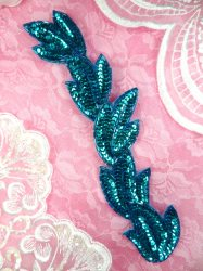 """FS511 Leaf Turquoise Sequin Beaded Applique Patch 8.25"""""""