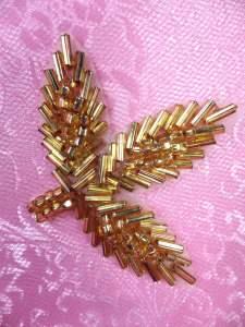 "FS566B Gold Beaded Leaf Applique 2.25"""