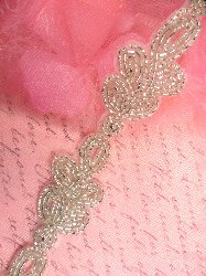 FS573 Silver Beaded Loop Cluster Trim 1.25""
