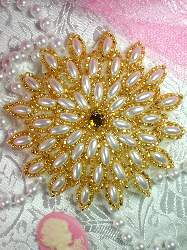 FS5908L Gold Beaded White Pearl Applique 3.25""