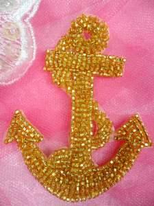 """FS721 Nautical Anchor Gold Beaded Applique 3.25"""""""