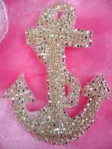 """FS721 Nautical Anchor Silver Beaded Applique 3.25"""""""