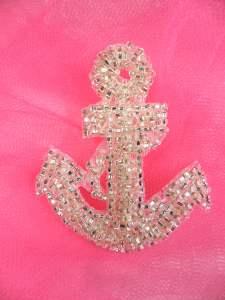 """FS721s Nautical Anchor Silver Beaded Applique 2.25"""""""