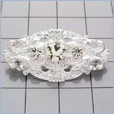"FS7563 Silver Rhinestone Ornament Embellishment 1.75"""