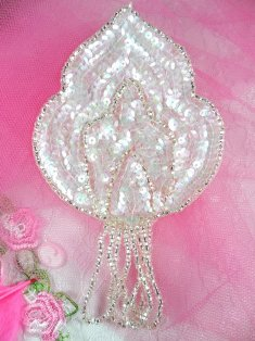 """FS768  Crystal AB Silver Epaulet Beaded Sequin Applique 5.75"""""""