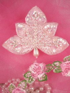 FS83B Crystal AB Pearl Beaded Sequin Applique 3.5""
