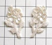 "Flower Appliques Crystal Sequin Beaded Mirror Pair Floral Design 3.25"" (FS89X)"