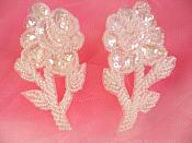"""Flower Appliques Crystal Sequin Beaded Mirror Pair Floral Design 3.25"""" (FS89X)"""