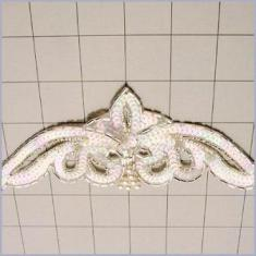 FSV181A  Bridal Sash Applique Crystal AB Sequin Silver Beaded w/ Pearl 8.5""