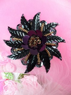 FSVMO1 Black Wine Bronze Leaf Beaded  Applique 2.75""