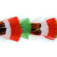 """P4003 Red Beige & Green Feather Trim Pre-Cut 36"""""""