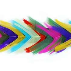"P4004 Multi Color Feather Trim Pre-Cut 36"""