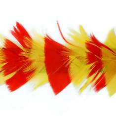 P4005 Red & Yellow Feather Trim Pre-Cut 36""