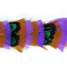 "P4018 Purple Brown & Green Feather Trim Pre-Cut 36"""