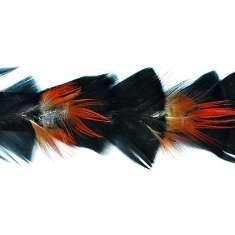 """P4033 Black & Red Feather Trim Pre-Cut 36"""""""