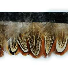 "P4045 Brown White & Black Feather Trim Pre-Cut 36"""