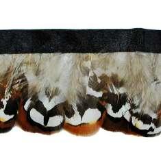 """P4046 Brown & White Feather Trim Pre-Cut 36"""""""