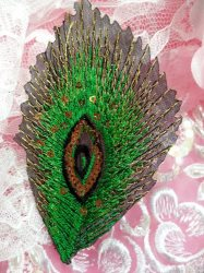 GB103 Embroidery Applique Green Feather Gold Sequined Patch 4""