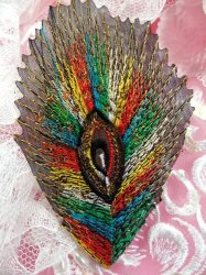 GB103 Embroidery Applique Multi-color Feather Sequined Patch 4""