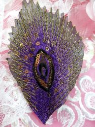GB103 Embroidery Applique Purple Feather Gold Sequined Patch 4""