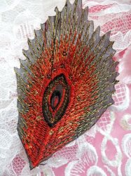 GB103 Embroidery Applique Red Feather Gold Sequined Patch 4""