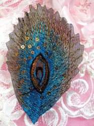 GB103 Embroidery Applique Turquoise Feather Sequined Patch 4""