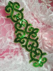 GB104 Green Gold Sequin Applique Iron On Patch 8.5""