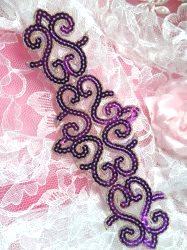 GB104 Purple Gold Sequin Applique Iron On Patch 8.5""