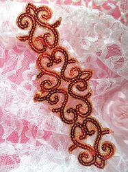 GB104 Red Gold Sequin Applique Iron On Patch 8.5""