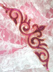 GB105 Fuchsia Gold Sequin Applique Iron On Patch 9.25""