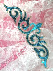 """GB105 Turquoise Gold Sequin Applique Iron On Patch 9.25"""""""