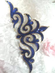 GB106 Blue Gold Sequin Applique Iron On Patch 11.5""