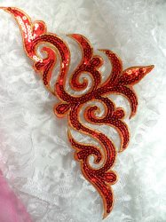 GB106 Red Gold Sequin Applique Iron On Patch 11.5""
