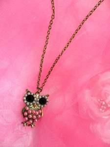 GB125 Unique Vintage Colorful Pearl Fashion Owl Necklace Chain