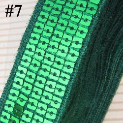 GB128 Green Sequin Sewing Craft Trim 5 Row 1""
