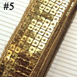 GB128 Light Gold Sequin Sewing Craft Trim 5 Row 1""