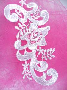 """GB140 White Venice Lace Floral Appliques 6.75"""""""