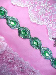 GB143 REDUCED Lime Green Silver Metallic Embroidered Jewel Trim Iron On 1.5""