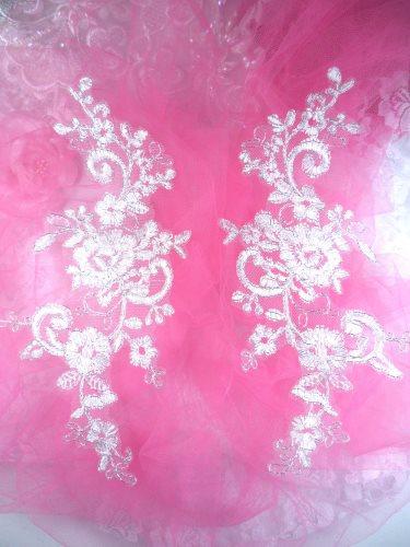 "GB144 White Silver Venice Lace Mirror Pair Bridal Appliques 9"""