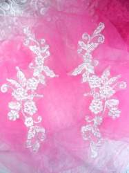 "GB145 White Silver Venice Lace Mirror Pair Bridal Appliques 9"""