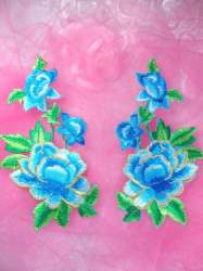 """GB156 Blue Turquoise Rose Mirror Pair Embroidered Appliques 6"""""""