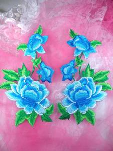 """GB157 Large Turquoise Blue Rose Mirror Pair Embroidered Appliques 9.5"""""""